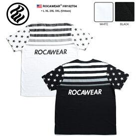 ロカウェア ROCAWEAR Tシャツ 半袖 【RW182T04】 かっこいい ブルックリン BROOKLYN 総柄 グラデーション 星条旗 黒白 ラッパー Jay-Z ジェイジー L XL 2L LL 2XL 3L XXL 3XL 4L XXXL b系 ヒップホップ ストリート系 服 メンズ 大きいサイズ ギフト