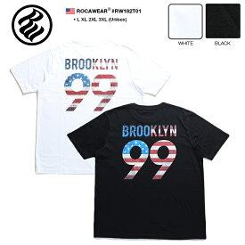 ロカウェア ROCAWEAR Tシャツ 半袖 【RW182T01】 かっこいい 名曲 99 PROBLEMS ブルックリン BROOKLYN 総柄 星条旗 黒白 ラッパー Jay-Z ジェイジー L XL 2L LL 2XL 3L XXL 3XL 4L XXXL b系 ヒップホップ ストリート系 服 メンズ 大きいサイズ ギフト
