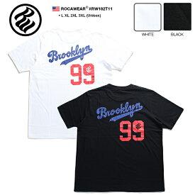 ロカウェア ROCAWEAR Tシャツ 半袖 【RW182T11】 かっこいい 名曲 99 PROBLEMS ブルックリン ベースボール 黒白 ラッパー Jay-Z ジェイジー L XL 2L LL 2XL 3L XXL 3XL 4L XXXL b系 ヒップホップ ストリート系 ファッション メンズ 大きいサイズ ギフト