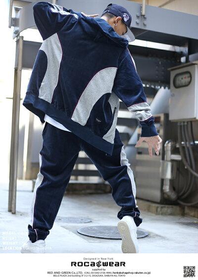 【送料無料】,ロカウェア,ROCAWEAR,上下セット,【R1708S701】,メンズ,レディース,セットアップ,長袖,込,長袖,パーカー,トラックパンツ,ベロア,大きいサイズ,b系,ヒップホップ,ストリート系,ファッション,ブランド,服,正規品【楽ギフ_包装】