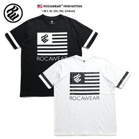 ロカウェア ROCAWEAR Tシャツ 半袖 メンズ レディース 黒 白 M L XL 2L LL 2XL 3L XXL 3XL 4L XXXL 大きいサイズ b系 ヒップホップ ストリート系 ファッション ブランド 服 かっこいい おしゃれ 英字 袖プリント ライン 星条旗 モノトーン ビッグシルエット RW163T05S