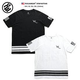 ロカウェア ROCAWEAR Tシャツ 半袖 メンズ レディース 黒 白 M L XL 2L LL 2XL 3L XXL 3XL 4L XXXL 大きいサイズ b系 ヒップホップ ストリート系 ファッション ブランド 服 かっこいい おしゃれ 刺繍 ライン ナンバー袖プリント 星条旗 99 ブルックリン RW163T04S
