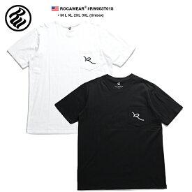 ロカウェア ROCAWEAR Tシャツ 半袖 メンズ レディース 白 黒 M L XL 2L LL 2XL 3L XXL 3XL 4L XXXL 大きいサイズ b系 ヒップホップ ストリート系 ファッション ブランド 服 かっこいい おしゃれ 胸ポケット モノトーン シンプル 刺繍 ロゴ ビッグシルエット RW003T01S