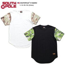 サウスポール SOUTH POLE Tシャツ 半袖 メンズ 白 黒 L XL 2L LL 2XL 3L XXL 3XL 4L XXXL 大きいサイズ b系 ヒップホップ ストリート系 ファッション ブランド 服 かっこいい おしゃれ ラウンド丈 袖切替 迷彩柄 革パッチ ビッグシルエット ラッパー ダンス Bボーイ 11822054