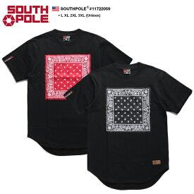 サウスポール SOUTH POLE Tシャツ 半袖 メンズ 黒赤 黒 L XL 2L LL 2XL 3L XXL 3XL 4L XXXL 大きいサイズ b系 ヒップホップ ストリート系 ファッション ブランド 服 かっこいい おしゃれ ペイズリー柄 バンダナ 革パッチ ビッグシルエット ダンス Bボーイ 11722059