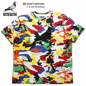 ステイプル STAPLE Tシャツ 半袖 総柄 メンズ レディース 白 L XL 2L LL 2XL 3L XXL 3XL 4L XXXL 大きいサイズ b系 ヒップホップ ストリート系 ファッション ブランド 服 かっこいい おしゃれ 鳩 刺繍 ワッペン チェッカーフラッグ カラー迷彩 ビッグシルエット 1901C5209