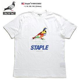 ステイプル STAPLE Tシャツ 半袖 メンズ レディース 白 L XL 2L LL 2XL 3L XXL 3XL 4L XXXL 大きいサイズ b系 ヒップホップ ストリート系 ファッション ブランド 服 かっこいい おしゃれ 鳩刺繍 ワッペン カラー迷彩 ビッグシルエット オーバーサイズ 1901C5453
