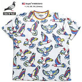 ステイプル STAPLE Tシャツ 半袖 総柄 メンズ 白 L XL 2L LL 2XL 3L XXL 3XL 4L XXXL 大きいサイズ b系 ヒップホップ ストリート系 ファッション ブランド 服 かっこいい おしゃれ リブライン トリコロールカラー カラフル 鳩 刺繍 ビッグシルエット 1905C5413
