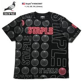 ステイプル STAPLE Tシャツ 半袖 総柄 メンズ 黒 L XL 2L LL 2XL 3L XXL 3XL 4L XXXL 大きいサイズ b系 ヒップホップ ストリート系 ファッション ブランド 服 かっこいい おしゃれ 地球儀 ブランドロゴ ネオン管 高彩度 ビッグシルエット 1904C5607