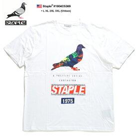 ステイプル STAPLE Tシャツ 半袖 メンズ 白 L XL 2L LL 2XL 3L XXL 3XL 4L XXXL 大きいサイズ b系 ヒップホップ ストリート系 ファッション ブランド 服 かっこいい おしゃれ スフィンク大仏 地球 コラージュ スカラフル 鳩 ビッグシルエット ギフト 1904C5369