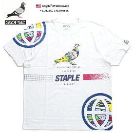ステイプル STAPLE Tシャツ 半袖 グラデーション メンズ 白 L XL 2L LL 2XL 3L XXL 3XL 4L XXXL 大きいサイズ b系 ヒップホップ ストリート系 ファッション ブランド 服 かっこいい おしゃれ カラフル タイダイ染め風 ワッペン 刺繍 ライン ビッグシルエット 1905C5462