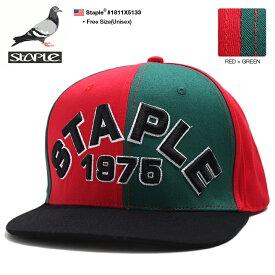 ステイプル STAPLE 帽子 キャップ スナップバック CAP メンズ 赤緑 男女兼用 b系 ヒップホップ ストリート系 ファッション ブランド トリコロールカラー 赤緑黒 切替 刺繍 Fサイズ かっこいい おしゃれ アメカジ ギフト 1811X5133