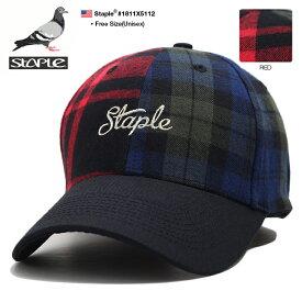 ステイプル STAPLE 帽子 キャップ ローキャップ ボールキャップ CAP メンズ 赤 男女兼用 b系 ヒップホップ ストリート系 ファッション ブランド トリコロールカラー 赤緑青 切替 刺繍 Fサイズ かっこいい おしゃれ アメカジ ギフト 1811X5112