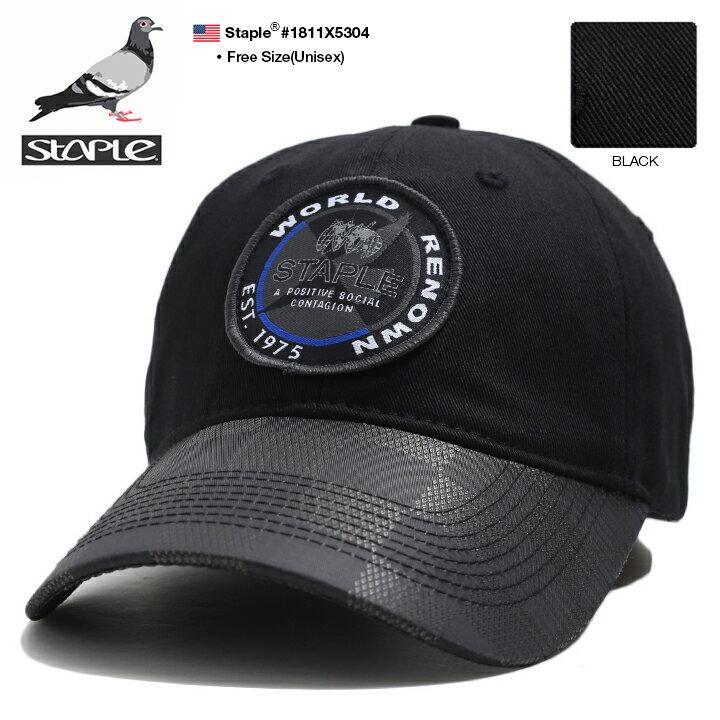 ステイプル STAPLE 帽子 キャップ ローキャップ ボールキャップ CAP メンズ 黒 男女兼用 b系 ヒップホップ ストリート系 ファッション ブランド ブロックチェック チェッカーフラッグ 切替 ワッペン 刺繍 Fサイズ かっこいい おしゃれ アメカジ ギフト 1811X5304