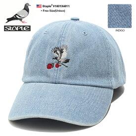 b系 ヒップホップ ストリート系 ファッション メンズ レディース ローキャップ ボールキャップ 帽子 【1801X4811】 ステイプル STAPLE かっこいい CAP デニム インディゴライトブルー 薔薇 鳩 ミニロゴ 刺繍 正規品 ギフト