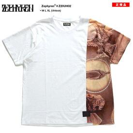 ゼファレン Zephyren Tシャツ 半袖 メンズ レディース 白 M L XL 2L LL 大きいサイズ b系 ヒップホップ ストリート系 ファッション ブランド 服 かっこいい おしゃれ 十字架 クロス 切替 アシンメトリー ゆったり ビッグシルエット ロック バンド系 ギフト Z20UH02