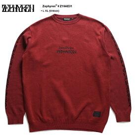 ゼファレン Zephyren セーター ニット 長袖 メンズ レディース 赤 L XL 2L LL 大きいサイズ b系 ヒップホップ ストリート系 ファッション ブランド 服 かっこいい おしゃれ マイファス ヒロ 着用 袖ロゴ ファイヤーパターン ビッグシルエット ロック Z19AE31
