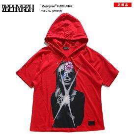ゼファレン Zephyren Tシャツ 半袖 メンズ レディース 男女兼用 赤 M L XL 2L LL 大きいサイズ b系 ヒップホップ ストリート系 ファッション ブランド 服 かっこいい おしゃれ フード付き ドルマンスリーブ 美女 ゆったり ドロップショルダー ビッグシルエット Z20UH07