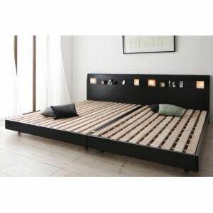 ●ポイント6倍●棚・コンセント・ライト付きデザインすのこベッド ALUTERIA アルテリア フレームのみ ワイドK240(シングル+ダブル)[L][00]