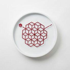 ●ポイント10倍●掛け時計 27cm タングルクロック 丸型 幾何学模様 壁掛け ハニーレッド 【代引不可】 [01]