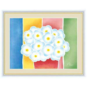 ●ポイント10倍●青い花の鉢植え 42×34cm 春田あかり/はるたあかり 現代作家インテリアアート アート額絵 [20]
