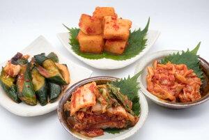 白菜キムチ+チャンジャ+イカキュウリ(イカフェ)+カクテキ(大根キムチ)の初回購入だけのお試しキムチセット!