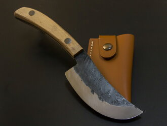 Skin Peeling Blade 100mm with Original Leather Case, for Wild Boar etc