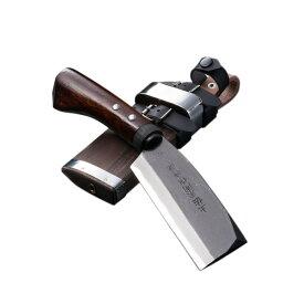 東周作 黒打腰鉈 両刃 白紙鋼120mm 腰ナタ オイルステン仕上 ケース付き