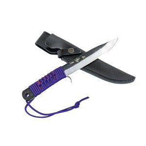 日本製 ナイフ 青紙鋼 如月165mm 本革ケース付 両刃剣鉈