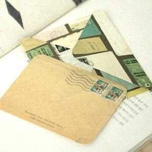 アンティークデザインのカードセット! antique envelope & card(10セット) 【レターセット】【メッセージカード】【アンティーク】【手紙】【封筒】【カード】【クラフト紙】