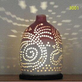"""螢の華""""陶灯りセット3001"""" 陶器のランプシェードと乾電池式LEDライト""""光kiwami""""のセットです。一品物 送料無料"""