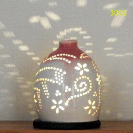 """螢の華""""陶灯りセット3002"""" 陶器のランプシェードと乾電池式LEDライト""""光kiwami""""のセットです。一品物 送料無料"""