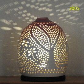 """螢の華""""陶灯りセット3005"""" 陶器のランプシェードと乾電池式LEDライト""""光kiwami""""のセットです。一品物 送料無料"""