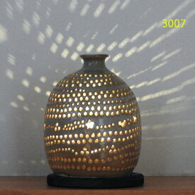 """螢の華""""陶灯りセット3007"""" 陶器のランプシェードと乾電池式LEDライト""""光kiwami""""のセットです。一品物 送料無料"""