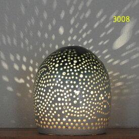 """螢の華""""陶灯りセット3008"""" 陶器のランプシェードと乾電池式LEDライト""""光kiwami""""のセットです。一品物 送料無料"""