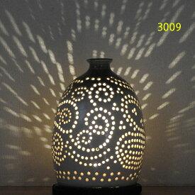 """螢の華""""陶灯りセット3009"""" 陶器のランプシェードと乾電池式LEDライト""""光kiwami""""のセットです。一品物 送料無料"""