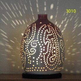 """螢の華""""陶灯りセット3010"""" 陶器のランプシェードと乾電池式LEDライト""""光kiwami""""のセットです。一品物 送料無料"""