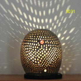 """螢の華""""陶灯りセット3031"""" 陶器のランプシェードと乾電池式LEDライト""""光kiwami""""のセットです。一品物 送料無料"""