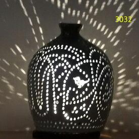 """螢の華""""陶灯りセット3032"""" 陶器のランプシェードと乾電池式LEDライト""""光kiwami""""のセットです。一品物 送料無料"""