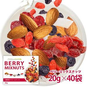 【新商品】ベリーミックスナッツ 40袋セット 小分け 贅沢な5種類 小袋タイプ 塩味 栄養成分豊富 送料無料 ポスト投函