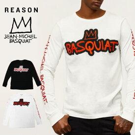 リーズン バスキア ロンT REASON CLOTHING コラボ ロングTシャツ 長袖シャツ メンズ レディース 大きいサイズ basquit ストリート B系 白 黒
