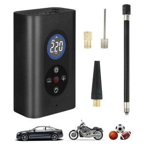 タイヤエアーポンプ 電動エアコンプレッサー ポータブル空気入れ コードレス充電式 デジタル表示 LEDライト搭載 自転車 バイク 浮き輪 ボールなどにも HOP-WP4000M8