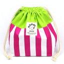 ピンクストライプ 巾着 M オールハンドメイド!安心の日本製 HOPPE(ホッペ)【日本製 手作り 入園入学準備 入園入学…