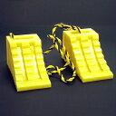 タイヤ歯止め タイヤストッパー ダブル(2個組の1.2Mロープ付)黄色 1セット