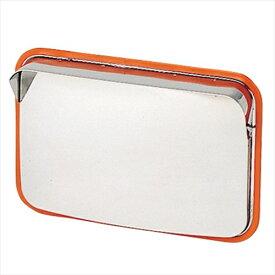 ステンレス製カーブミラー(ガレージミラー) HPS-角50オレンジ