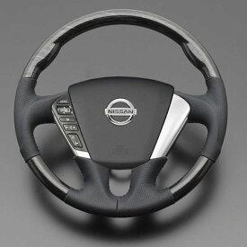 ムラーノ Z51 FEGGARI フェガーリ シルバーロズウッド×ブラックレザー ハイグレード ウッド&レザーステアリング ガングリップ LS104