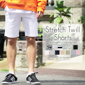 Shorts mens shorts ◆ stretch twilshorts ◆ half-bread shorts short big Pan odd-length 7 minutes 7 minutes black & white knee on Chino pants spring summer summer spring new pink panties size bottoms color loose dress summer clothing