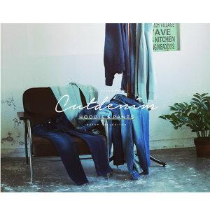パーカーとスウェットのセット商品◆カットデニムセットアップ◆セットアップメンズ上下セットデニムパーカーパーカジップパーカースウェットパンツスウェット春服