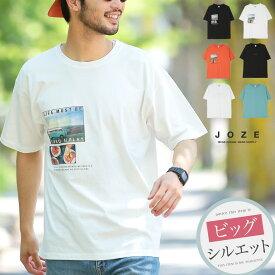 ◆フォトプリントTシャツ◆Tシャツ メンズ おしゃれ ティーシャツ 半袖 カットソー トップス メンズファッション 夏 夏服 夏物 クルーネック 綿 綿100% ビッグシルエット ブラック ホワイト オレンジ ブルー グリーン