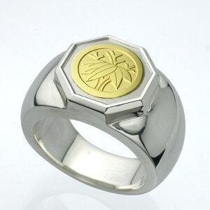 【10%オフ/21日まで】家紋リング・八角・K18金ゴールドエンブレム・松コース Famliycrest 指輪 メンズ サイズ メンズアクセ シルバー ゴールド 彫刻 彫金 銀 SILVER GOLD 950 925 オーダーメイド